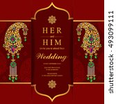 wedding invitation or card with ...   Shutterstock .eps vector #493099111