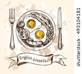english breakfast with fried... | Shutterstock .eps vector #493104181