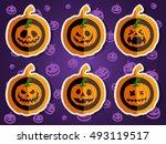Face Pumpkins For Halloween Set ...