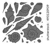 set of hand drawn doodle vector ... | Shutterstock .eps vector #493120939