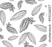 cocoa hand drawn seamless... | Shutterstock .eps vector #493126027