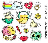 colorful patch badges with... | Shutterstock .eps vector #493128841