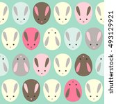 cute rabbit. seamless wallpaper.... | Shutterstock .eps vector #493129921