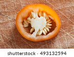 sliced pepper paprika isolated... | Shutterstock . vector #493132594