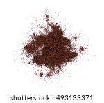 coffee powder on white... | Shutterstock . vector #493133371