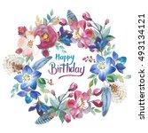 wildflower rose flower wreath... | Shutterstock . vector #493134121