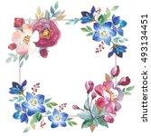 wildflower rose flower frame in ... | Shutterstock . vector #493134451