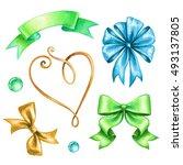 Watercolor Holiday Ribbon And...