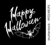 happy halloween bat message... | Shutterstock .eps vector #493148191
