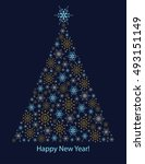new year and christmas card... | Shutterstock .eps vector #493151149