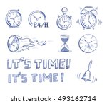 con set time and clocks. hand... | Shutterstock .eps vector #493162714