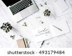 good morning. flat lay  top... | Shutterstock . vector #493179484