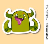 vector emotion sticker with... | Shutterstock .eps vector #493180711