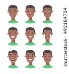 set of male emoji characters.... | Shutterstock .eps vector #493184734