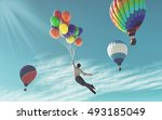 the young man in suit flying... | Shutterstock . vector #493185049