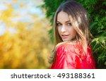 autumn woman portrait smiling... | Shutterstock . vector #493188361