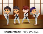 a vector illustration of kids... | Shutterstock .eps vector #493193461