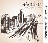 abu dhabi cityscape sketch  ...   Shutterstock .eps vector #493195051