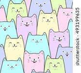 cute cats colorful seamless... | Shutterstock .eps vector #493199635