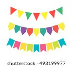 bright colored garlands of... | Shutterstock .eps vector #493199977