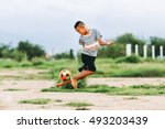 the kids are playing soccer... | Shutterstock . vector #493203439