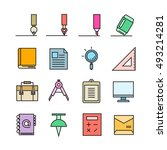 office stationery icons | Shutterstock .eps vector #493214281
