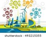 smart city flat. cityscape... | Shutterstock .eps vector #493215355