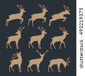 christmas reindeer silhouettes | Shutterstock .eps vector #493219375