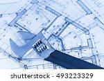 architecture blueprints   ... | Shutterstock . vector #493223329