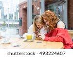 two young beautiful caucasian... | Shutterstock . vector #493224607