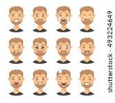 set of male emoji characters.... | Shutterstock .eps vector #493224649