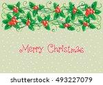 merry christmas card. vector... | Shutterstock .eps vector #493227079