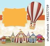 cartoon kids inside a hot air... | Shutterstock .eps vector #493227739