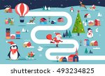 christmas village map  winter... | Shutterstock .eps vector #493234825