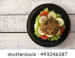 delicious vegan burger on... | Shutterstock . vector #493246387