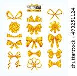 set of golden yellow bows.... | Shutterstock .eps vector #493251124