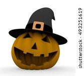 spooky halloween pumpkin with a ... | Shutterstock . vector #493251619