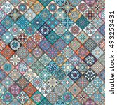colorful vintage seamless... | Shutterstock .eps vector #493253431