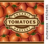 retro tomato harvest label.... | Shutterstock .eps vector #493256401