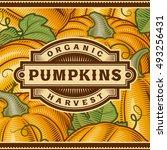 retro pumpkin harvest label.... | Shutterstock .eps vector #493256431