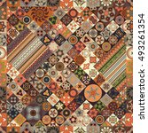 colorful vintage seamless... | Shutterstock .eps vector #493261354