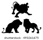 silhouettes of lions in three...