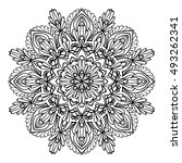 mandala. black and white... | Shutterstock .eps vector #493262341
