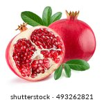 pomegranates isolated on the... | Shutterstock . vector #493262821