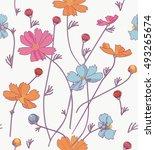 cosmos flowers orange  blue ...   Shutterstock .eps vector #493265674