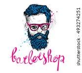 stylish man with a beard. man... | Shutterstock .eps vector #493274251