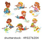 little children draw pictures... | Shutterstock .eps vector #493276204