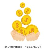 hands hold flow of gold coins....   Shutterstock .eps vector #493276774