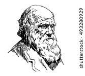 Charles Robert Darwin. Naturalist and geologist. Black and white portrait in sketch style.Hand drawn vector illustration isolated on white background.