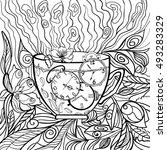 line art design of a mug of hot ...   Shutterstock .eps vector #493283329